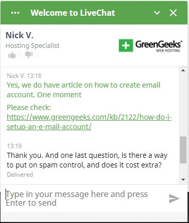 GreenGeeks Review chat