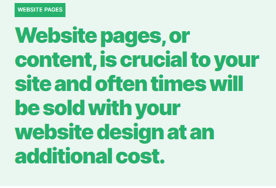 How much does a website cost? Website pages